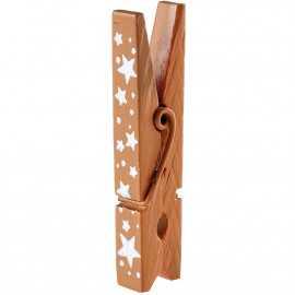 4 pinces en bois étoile métallisé, 5 cm