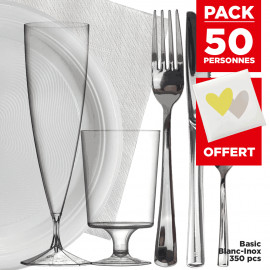 Pack 50 pers + Livre d'or offert Basic 350 pièces