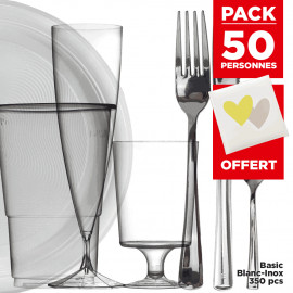 Pack 50 pers + Livre d'or offert Basic 300 pièces