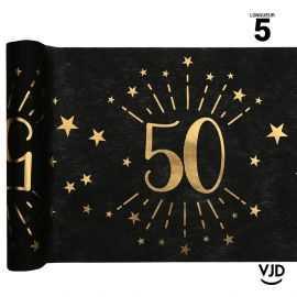 Chemin de table 50 ans âge étincelant métal or. 5 mètres