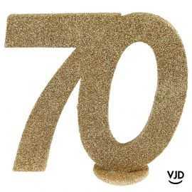 Décoration chiffre anniversaire verticale 70 ans or 11 cm
