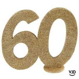 Décoration chiffre anniversaire verticale 60 ans or 11 cm