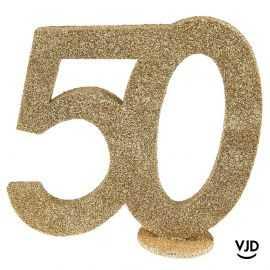 Décoration chiffre anniversaire verticale 50 ans or 11 cm