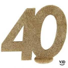 Décoration chiffre anniversaire verticale 40 ans or 11 cm