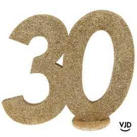 Décoration chiffre anniversaire verticale 30 ans or 11 cm