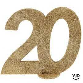 Décoration chiffre anniversaire verticale 20 ans or 11 cm