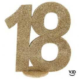Décoration chiffre anniversaire verticale 18 ans or 11 cm
