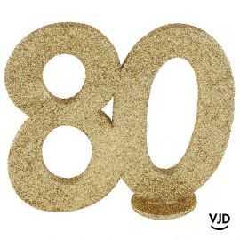 Décoration chiffre anniversaire verticale 80 ans or 11 cm