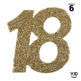 6 confettis anniversaire 18 ans or pailleté 5 cm