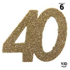 6 confettis anniversaire 40 ans or pailleté 5 cm