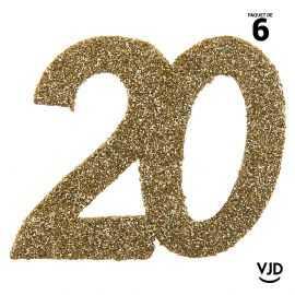 6 confettis anniversaire 20 ans or pailleté 5 cm