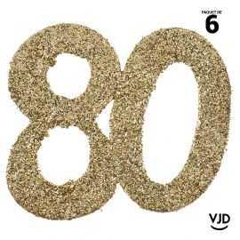 6 confettis anniversaire 80 ans or pailleté 5 cm