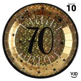 10 assiettes carton âge étincelant 70 ans or irisé 22,5 cm