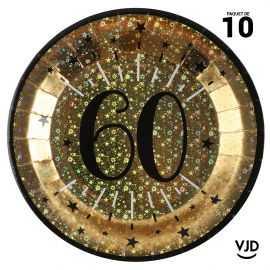 10 assiettes carton âge étincelant 60 ans or irisé 22,5 cm