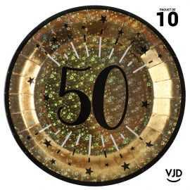 10 assiettes carton âge étincelant 50 ans or irisé 22,5 cm
