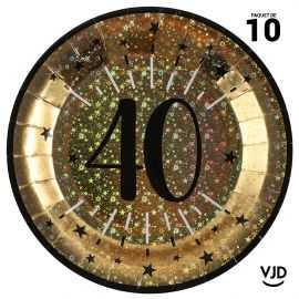 10 assiettes carton âge étincelant 40 ans or irisé 22,5 cm
