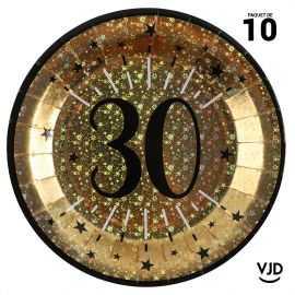 10 assiettes carton âge étincelant 30 ans or irisé 22,5 cm