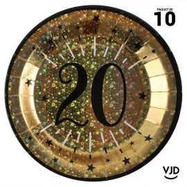 10 assiettes carton âge étincelant 20 ans or irisé 22,5 cm