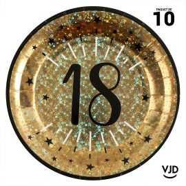 10 assiettes carton âge étincelant 18 ans or irisé 22,5 cm
