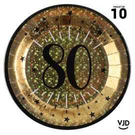 10 assiettes carton âge étincelant 80 ans or irisé 22,5 cm