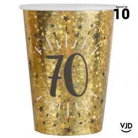 10 gobelets carton âge étincelant or irisé 70 ans 25 cl