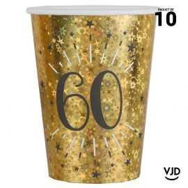10 gobelets carton âge étincelant or irisé 60 ans 25 cl