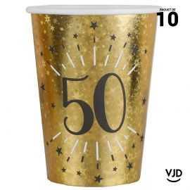10 gobelets carton âge étincelant or irisé 50 ans 25 cl