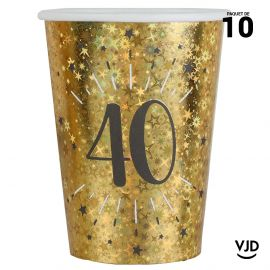 10 gobelets carton âge étincelant or irisé 40 ans 25 cl