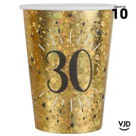 10 gobelets carton âge étincelant or irisé 30 ans 25 cl