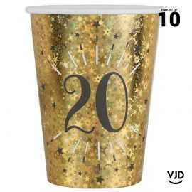 10 gobelets carton âge étincelant or irisé 20 ans 25 cl