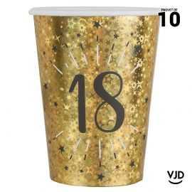 10 gobelets carton âge étincelant or irisé 18 ans 20 cl