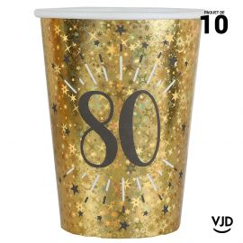 10 gobelets carton âge étincelant or irisé 80 ans 25 cl