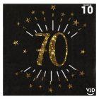 10 serviettes papier âge étincelant noir et or 70 ans 33 x 33 cm