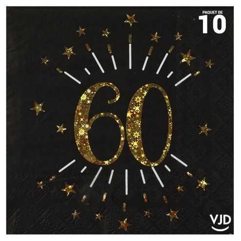 10 serviettes papier âge étincelant noir et or 60 ans 33 x 33 cm