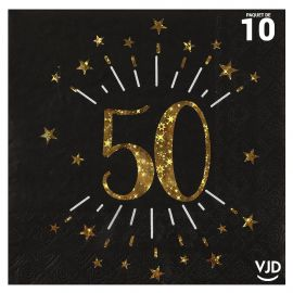 10 serviettes papier âge étincelant noir et or 50 ans 33 x 33 cm