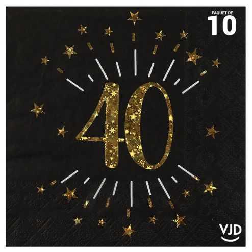 10 serviettes papier âge étincelant noir et or 40 ans 33 x 33 cm