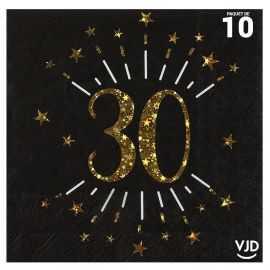 10 serviettes papier âge étincelant noir et or 30 ans 33 x 33 cm