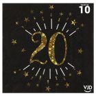 10 serviettes papier âge étincelant noir et or 20 ans 33 x 33 cm