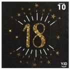 10 serviettes papier âge étincelant noir et or 18 ans 33 x 33 cm