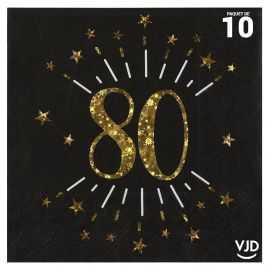 10 serviettes papier âge étincelant noir et or 80 ans 33 x 33 cm