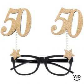 Lunettes âge pailletées noir et or 50 ans