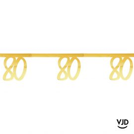 Banderole 250 cm âge effet métal or 80 ans