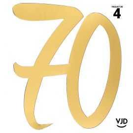 4 confettis décoration carton or âge 70 ans 20 cm