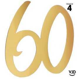 4 confettis décoration carton or âge 60 ans 20 cm