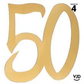 4 confettis décoration carton or âge 50 ans 20 cm