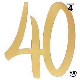 4 confettis décoration carton or âge 40 ans 20 cm