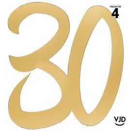 4 confettis décoration carton or âge 30 ans 20 cm