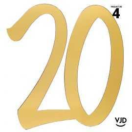 4 décorations carton âge or 20 ans 20 cm