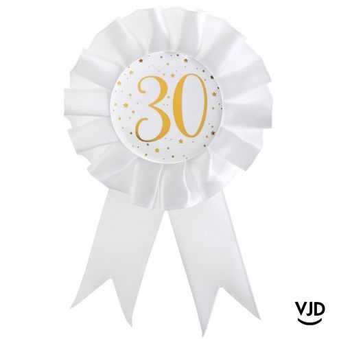 Cocarde blanche et or effet métallisé 30 ans