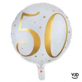 Ballon aluminium 45 cm blanc et or effet métallisé 50 ans